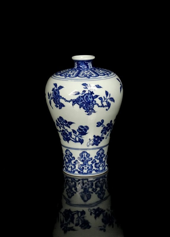 A Chinese Qing Blue and White Porcelain Vase