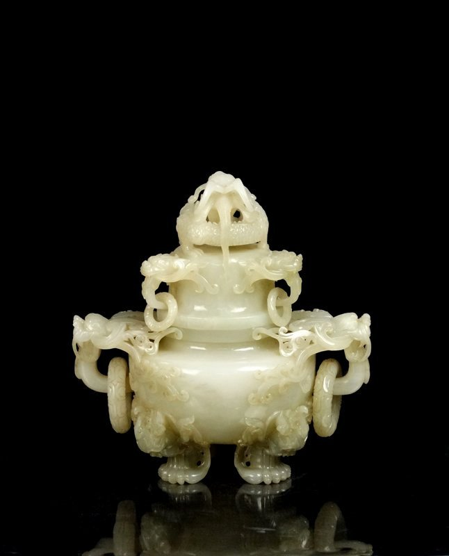 A Large Chinese Qing Carved White Jade Censer and Cover