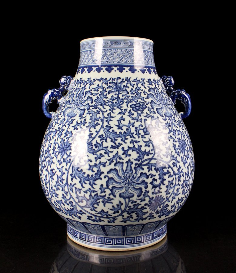 Very Large Chinese Qing Blue and White Porcelain Vase