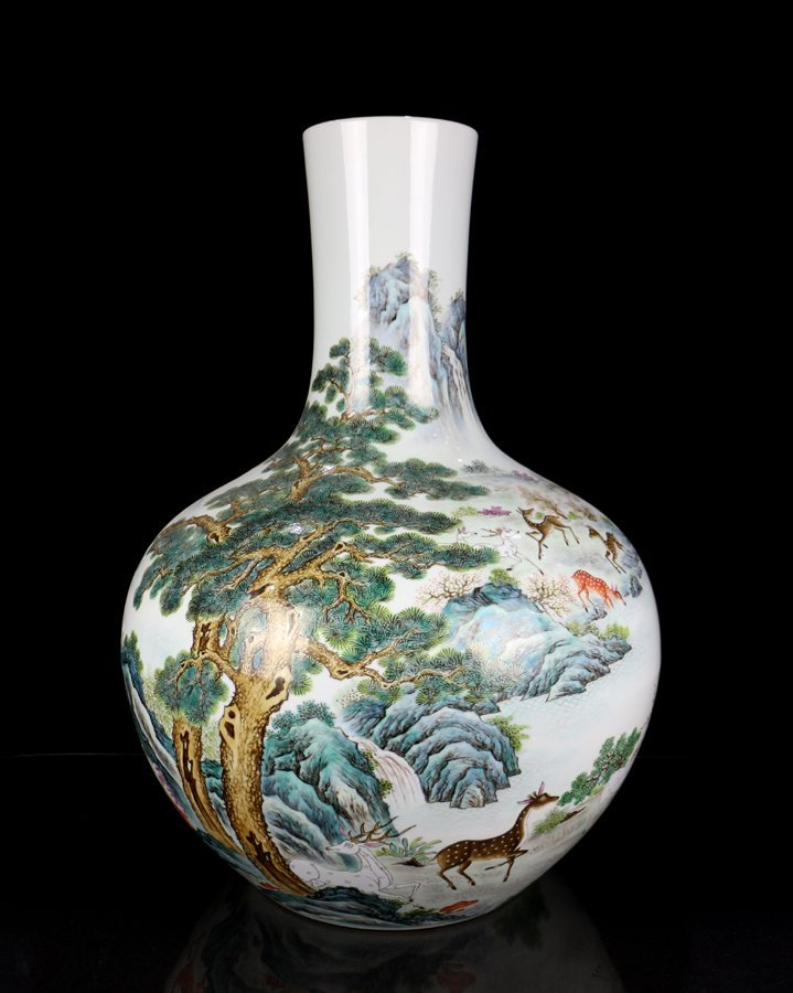 Very Large Chinese Qing Famille Rose Porcelain Vase