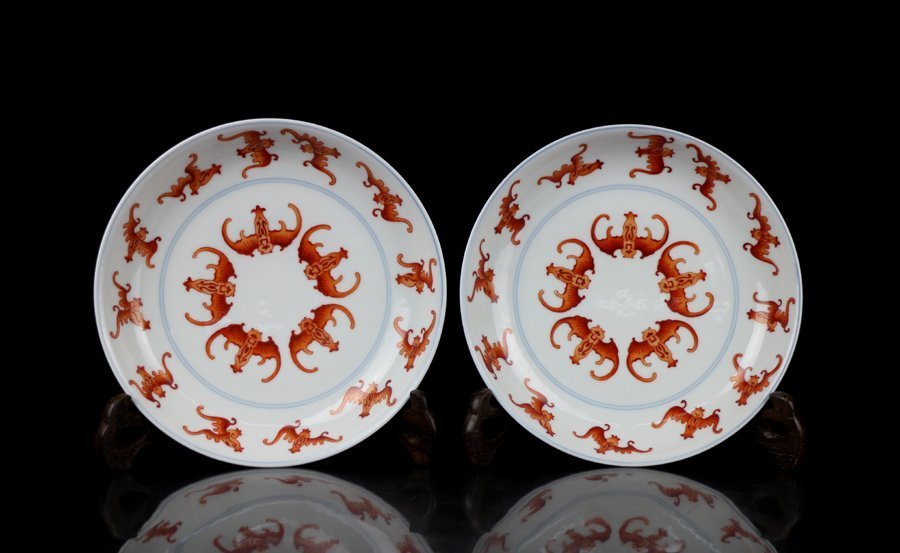 Pair Top Chinese Qing Famille Rose Porcelain Plates