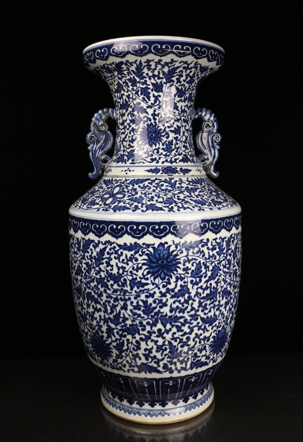 A Huge Chinese Qing Blue and White Porcelain Vase