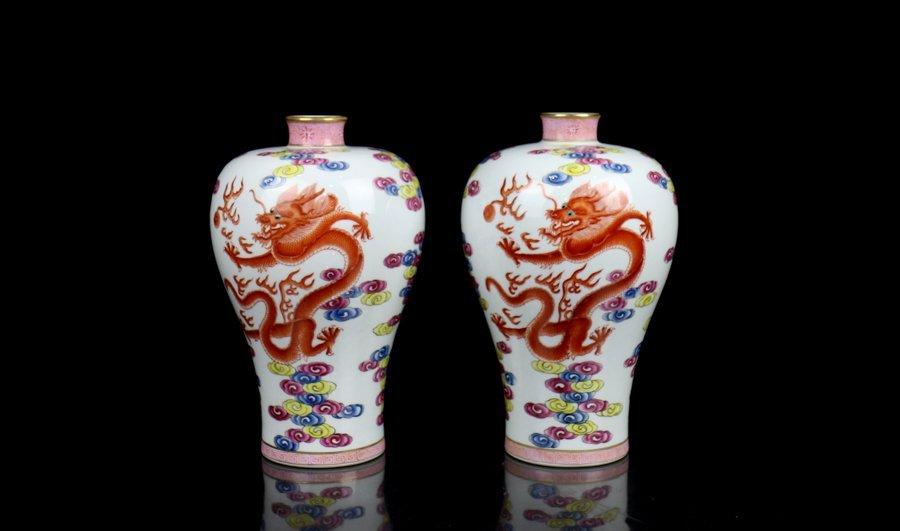 Pair Toppest Chinese Qing Enamel Porcelain Vases