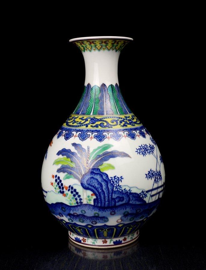 Unique Chinese Qing Gilt B/W and Dou Cai Porcelain Vase