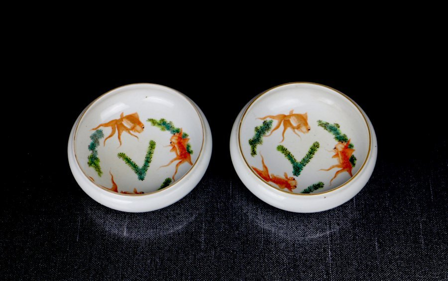 Pair Fine Chinese Qing Famille Rose Porcelain Brushpots