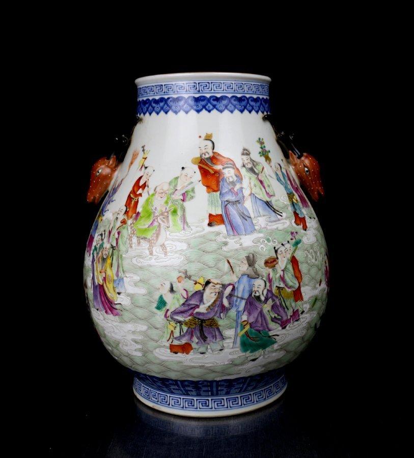 AntiqueChinese Qing B/W and Dou Cai Porcelain Vase
