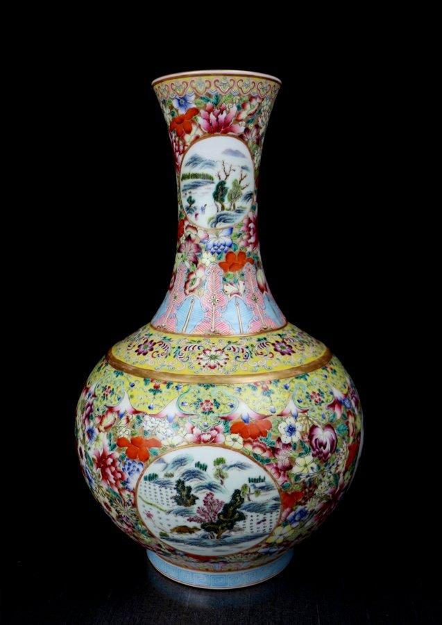 A Fine Antique Chinese Qing Famille Rose Porcelain Vase