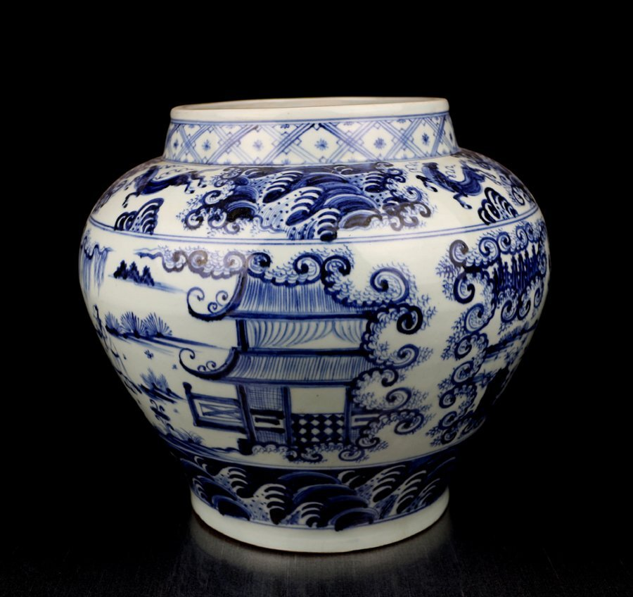 An Unique Chinese Yuan Blue and White Porcelain Jar
