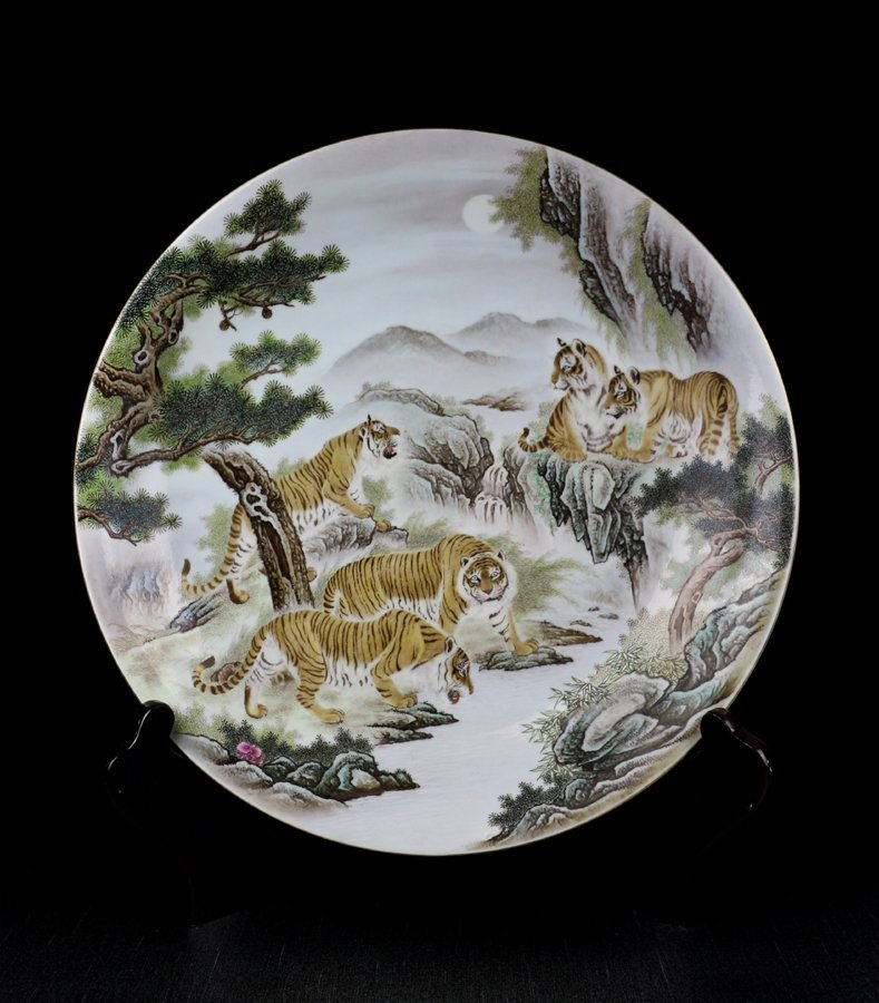 Very Large Chinese Qing Famille Rose Porcelain Plate