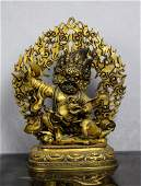 A Large Antique Chinese Ming Gilted Gold Bronze Buddha
