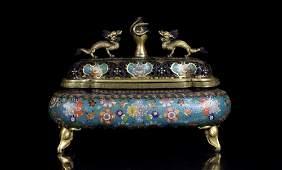 A Large Chinese Ming Gilt Cloisonne Enamel Lotus Bronze