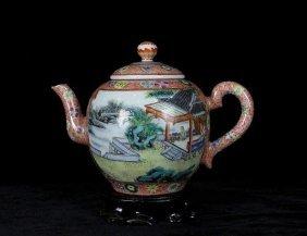 A Enamel Open Landscape And Figure Porcelain Teapot