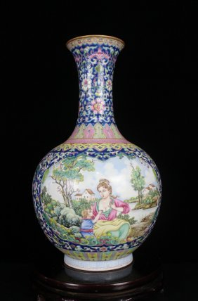 A Large Fine Antique Chinese Qing Gilt Famille Rose Ope