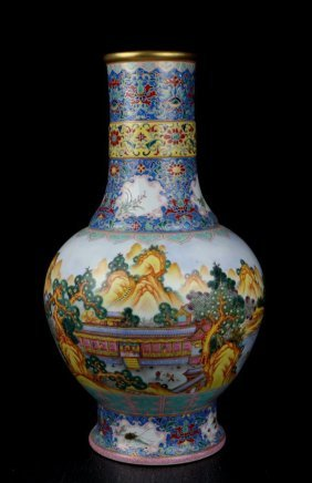 A Rare And Large Chinese Qing Enamel Porcelain Vase