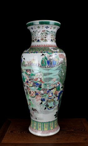 Large Excellent Antique Chinese Qing Wu Cai Warrors Por