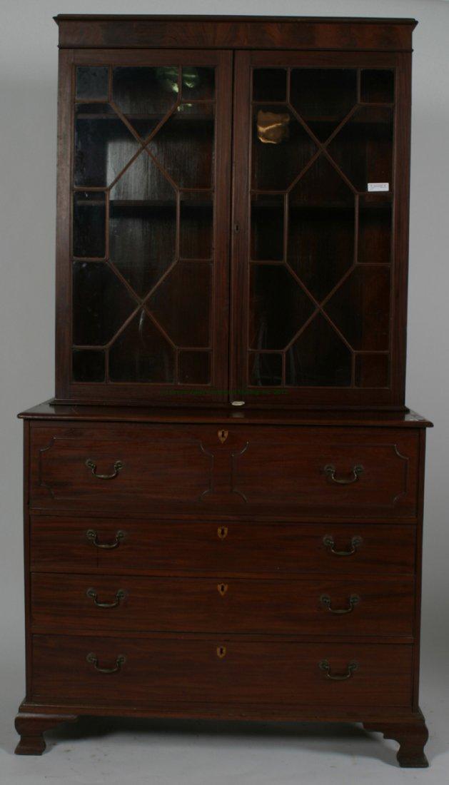 Mahogany Federal Desk w/ Bookcase Top.