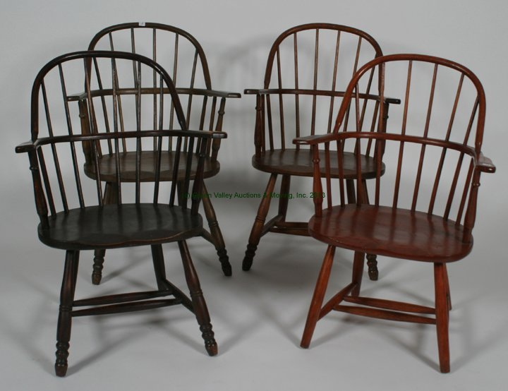 Assembled Set of 4 Windsor Sack-Back Arm Chairs.