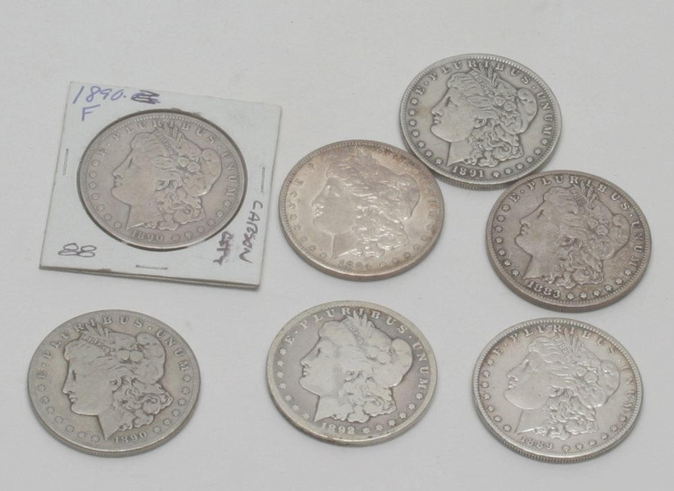 Silver Carson City Morgan Dollars, Lot of Seven.