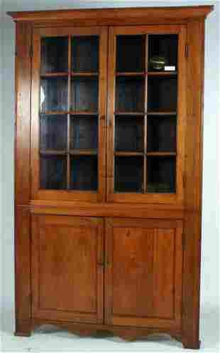 Hardy County 16 Pane Walnut Corner Cupboard