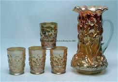 Dugan Heavy Iris marigold Five Piece Water Set