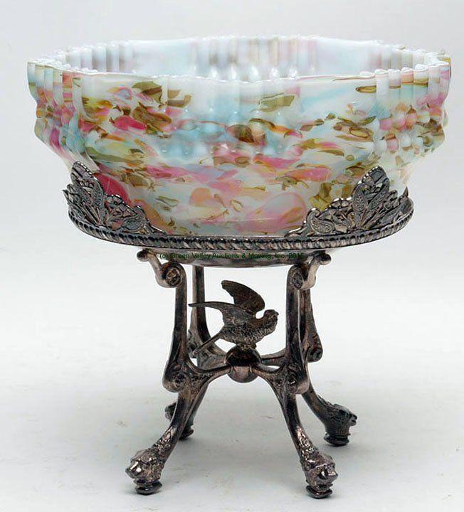 Victorian Spatter Cased Bride's Basket with Frame