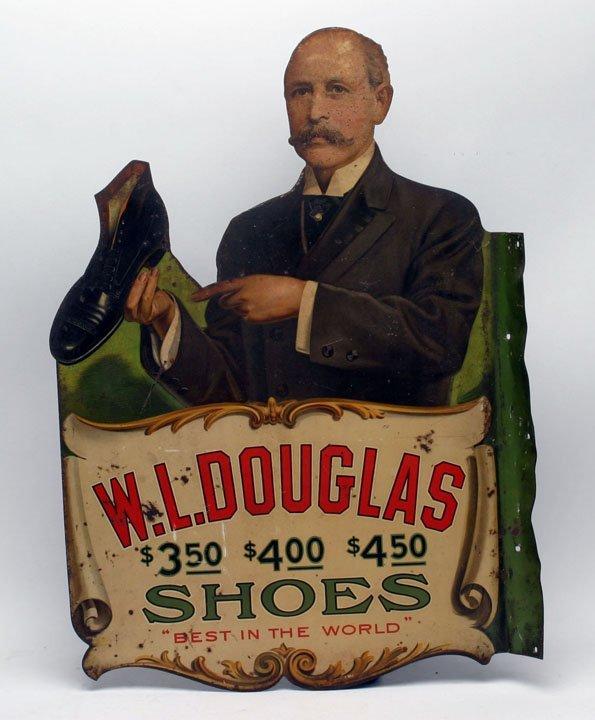 Rare W. L. Douglas Shoes Metal Flange Sign
