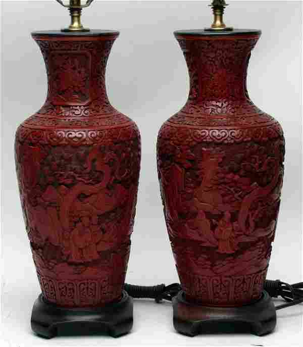 Chinese Cinnabar Pair of Table Lamps