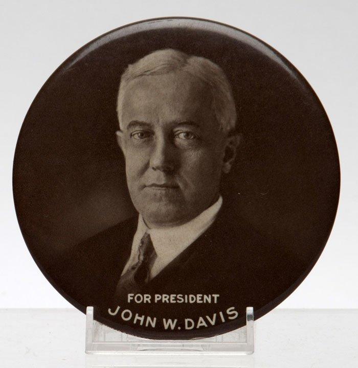 1924 John W. Davis For President Button