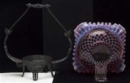 Cranberry Opalescent Lattice Bride's Basket