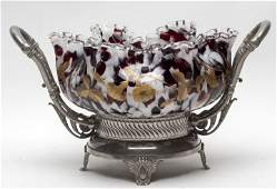 Victorian Spatter Brides Bowl With Frame