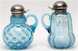 Victorian Blue Syrup Pitchers, Lot of Two