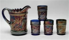 Dugan Stork & Rushes Cobalt Water Set