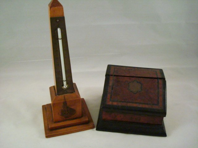 2 pc Treenware Desk Match Safe & Thermometer