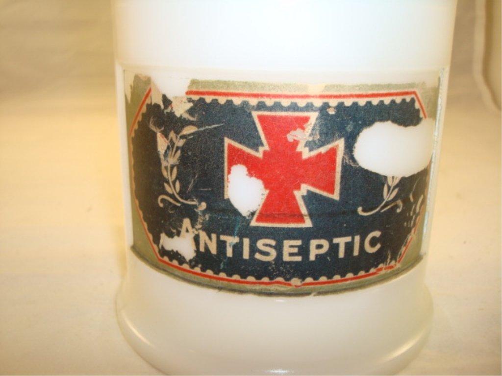 Milk Glass Barber Antiseptic Jar w Lid - 2