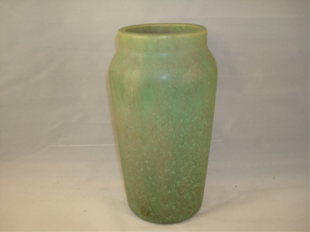 Unsigned Arts and Crafts Green Molted Vase