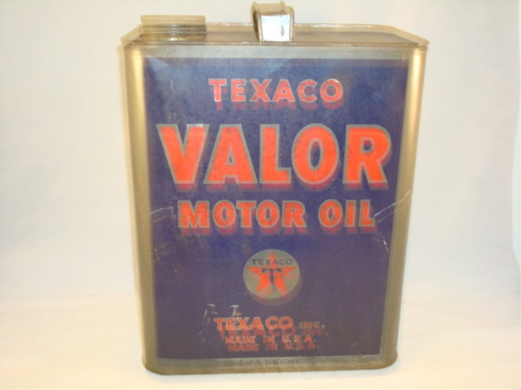 Texaco Valor Motor Oil Can 2 Gallon