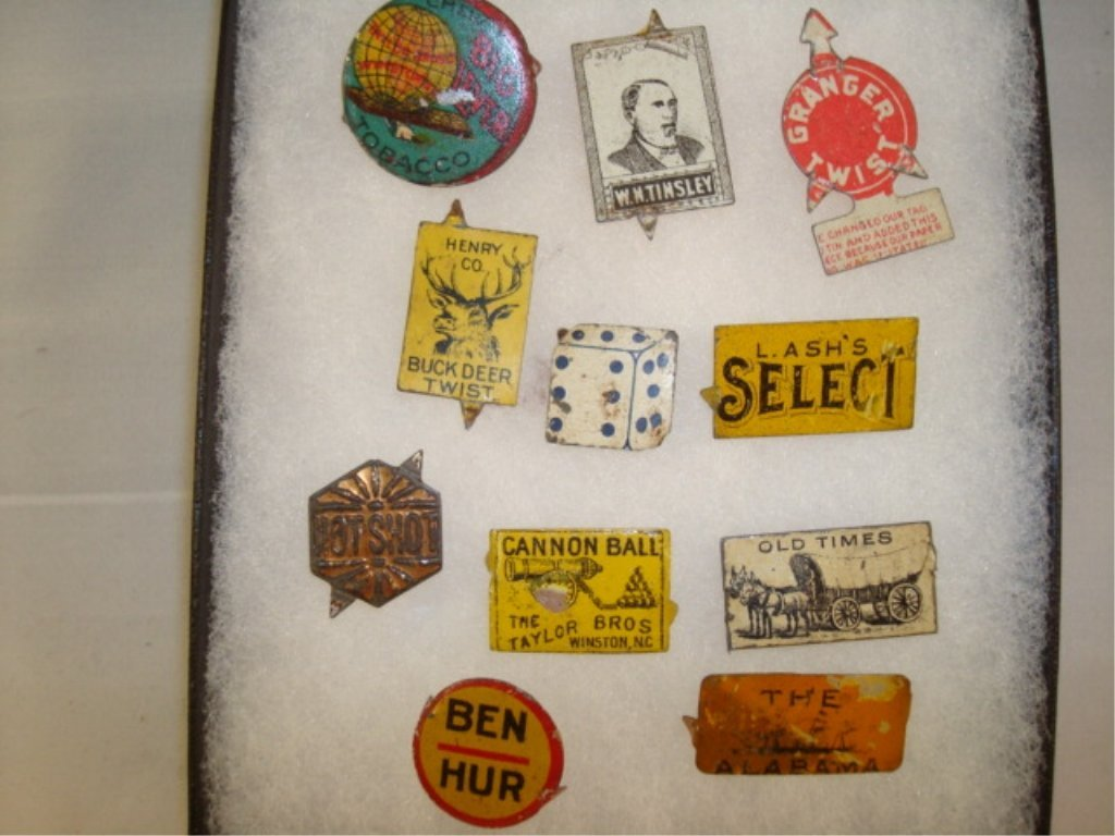 11 Tin Tobacco Tags Old Times, Big Lever, Tinsley