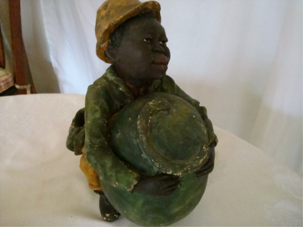 Black Memorabila Humidor Chalkware Boy w Melon