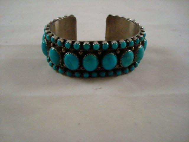 L. Begay Turquoise Bracelet Morenci Mine