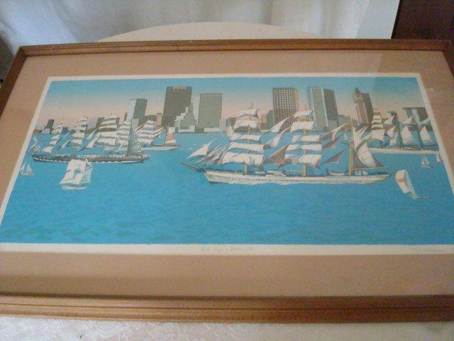 Framed 1976 Tall Ships Print 214/250 Crossman