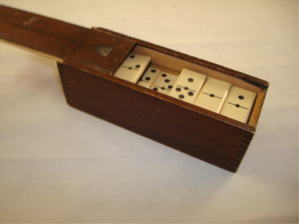 Ivory Domino's with Ebony Back in Wood Box