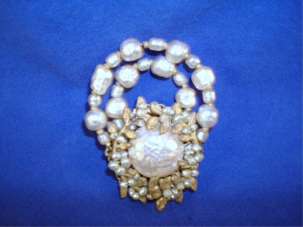 Mariam Haskell Vintage Broach Pearl Basket Design