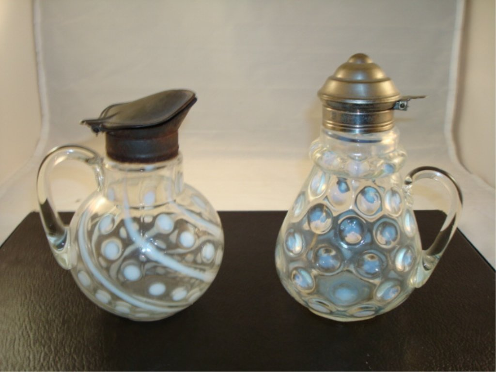 2  Hobbs? Coin Dot Syrups - white - Mid 1800's