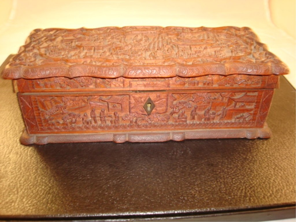 Carved and signed Wooden Chinese Mantel Box