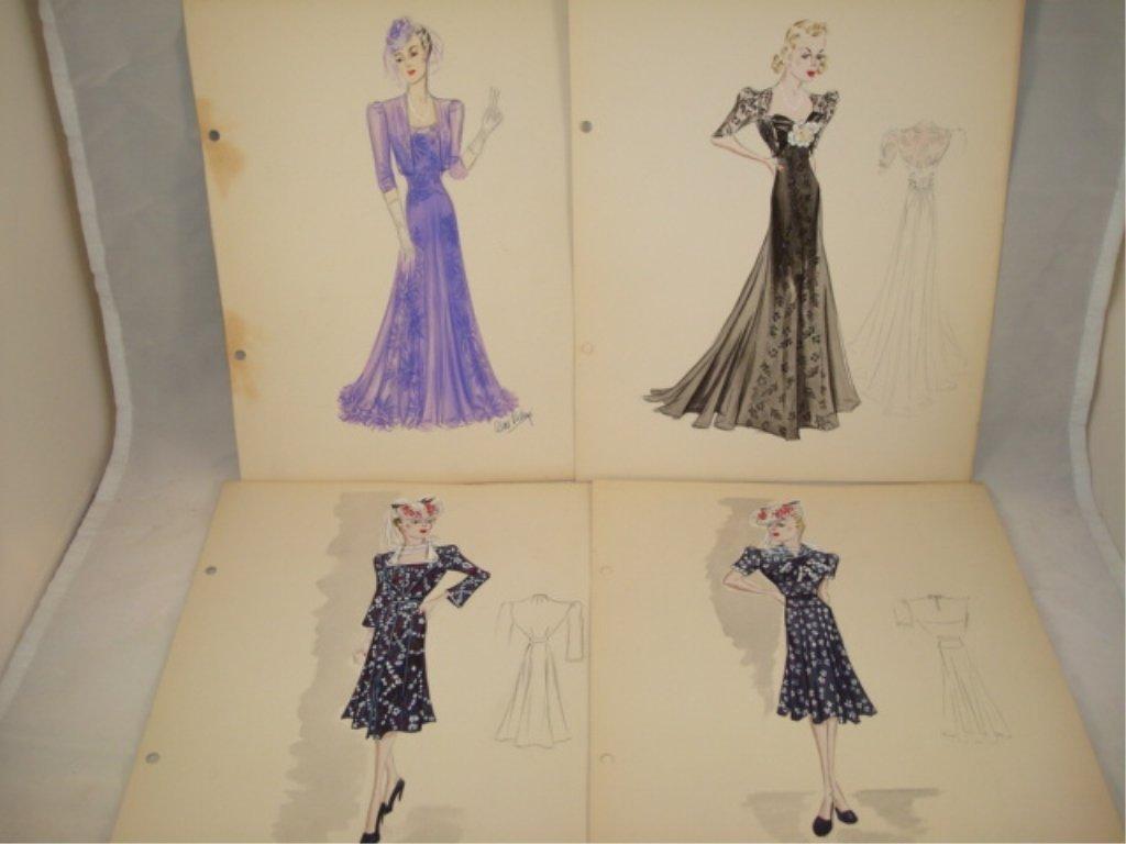 7 Hand Drawn Fashion Prints Alice Kelly 1930's