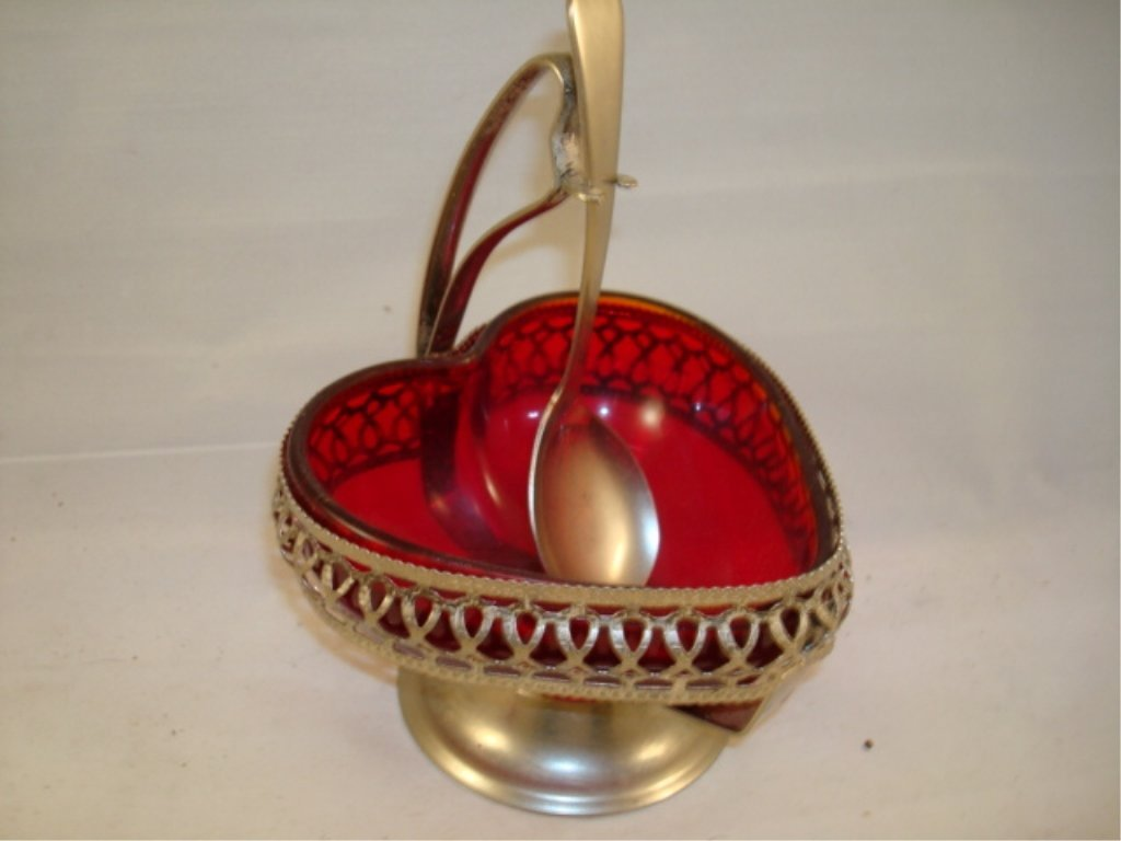 Red Glass Heart Shaped Condiment Bowl w Spoon