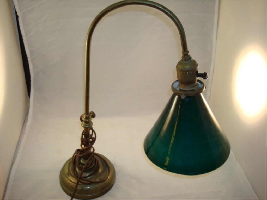 Brass Goose Neck Desk/Piano Lamp Green