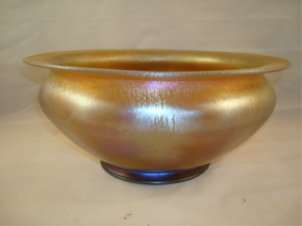 Tiffany Favrile signed bowl 1896 - gold & Pink