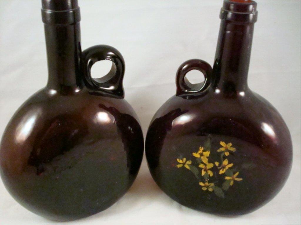 """(2) Handled Chestnut Bottles 8"""" x 5"""""""