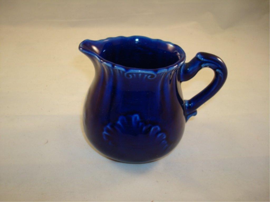 Hampshire Pottery Cobalt Creamer Leaf Design